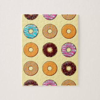 Donut Pattern on Yellow Jigsaw Puzzle