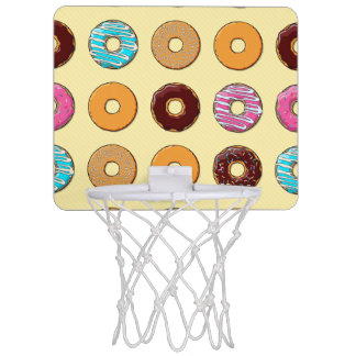 Donut Pattern on Yellow Mini Basketball Hoop