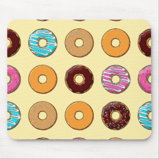 Donut Pattern on Yellow Mouse Pad