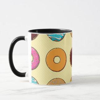 Donut Pattern on Yellow Mug