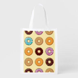Donut Pattern on Yellow Reusable Grocery Bag
