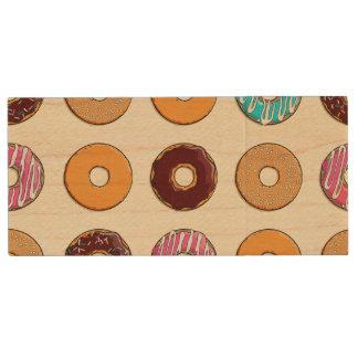 Donut Pattern on Yellow Wood USB Flash Drive