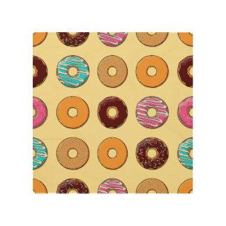 Donut Pattern on Yellow Wood Wall Art