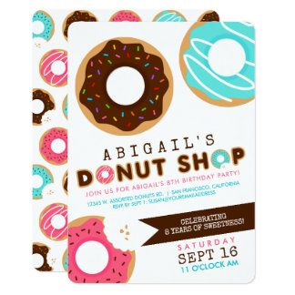 Donut Shop Birthday Party Card