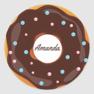 Donut themed Birthday Party personalized Classic Round Sticker