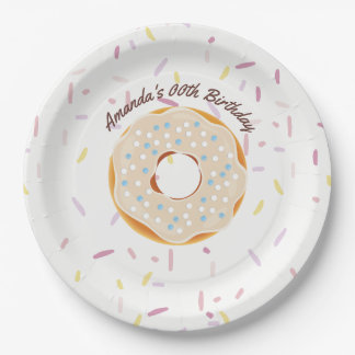 Donut themed Birthday Party personalized Paper Plate