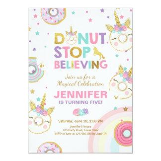 Donut Unicorn Birthday Invitation Pink Gold Girl