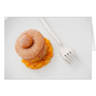 Donut with copped oranges for breakfast card