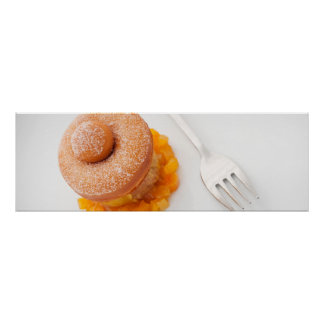 Donut with copped oranges for breakfast print