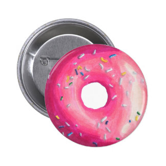 Donut With Pink Frosting And Sprinkles 6 Cm Round Badge