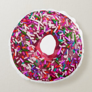 Donut With Sprinkles Round Cushion