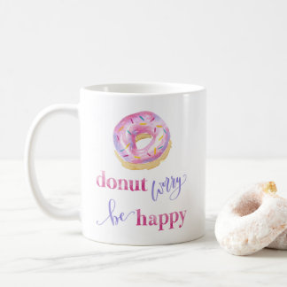 Donut Worry Be Happy Mug Watercolour