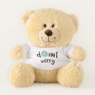 Donut Worry Blue Teddy Bear