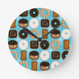 Donuts Blue Round Clock