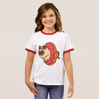 Donuts Cats pink Ringer T-Shirt