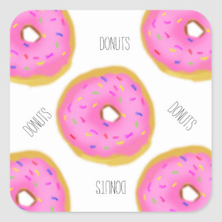 Donuts Donuts Donuts Square Sticker