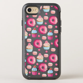 Donuts Macarons And Cupcake Pattern In Watercolor OtterBox Symmetry iPhone 8/7 Case