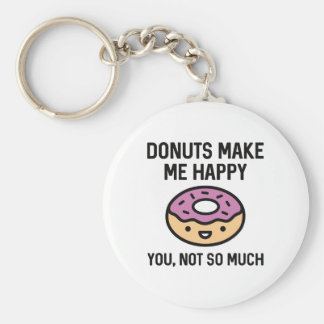 Donuts Make Me Happy Basic Round Button Key Ring