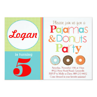 Donuts & Pajamas Party Invitation (Boys)