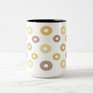 Donuts pattern - brown and beige. Two-Tone coffee mug