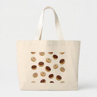 Donuts pattern large tote bag