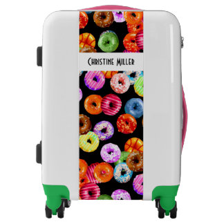 Donuts seamless pattern + your backgr. & ideas luggage