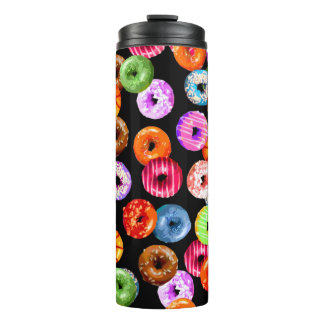 Donuts seamless pattern + your backgr. & ideas thermal tumbler