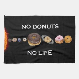 Donuts solar system tea towel