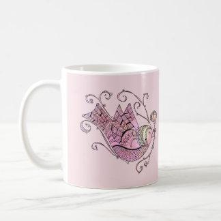 Doodle Art Folk Bird Mug - Pink