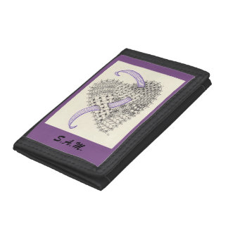 Doodle Art Heart with Purple Outline Tri-fold Wallets