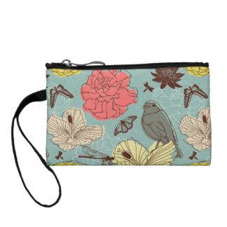 doodle bird and butterflis coin purse