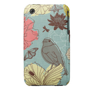 doodle bird and butterflis iPhone 3 Case-Mate cases