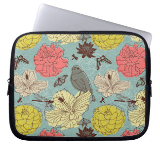 doodle bird and butterflis laptop sleeve