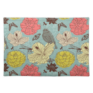 doodle bird and butterflis placemats