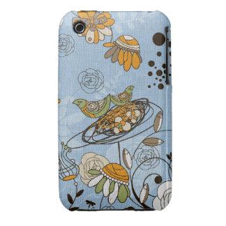 doodle birds on blue iPhone 3 Case-Mate case