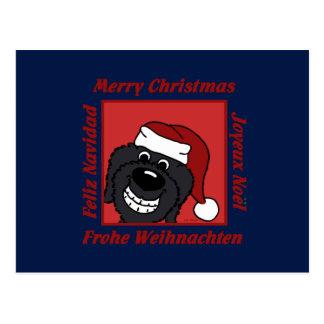 Doodle black Christmas Postcard