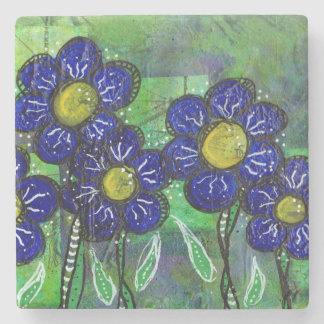 Doodle Blue Balloon Flower Stone Coaster