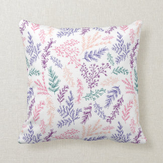doodle botanical leaves patterned pillow cushion