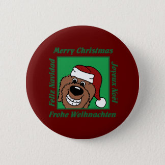 Doodle brown Christmas 6 Cm Round Badge