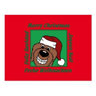 Doodle brown Christmas Postcard