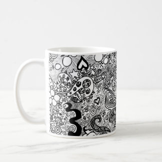 Doodle butterflies and flowers basic white mug