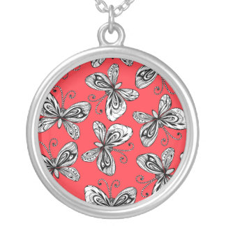 Doodle butterflies pattern silver plated necklace