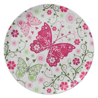 doodle butterflies plate