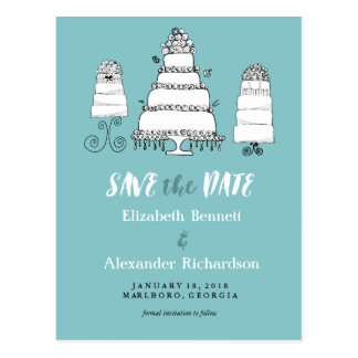Doodle Cakes Wedding Save the Date Postcard