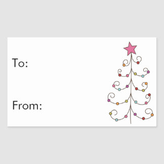 doodle christmas tree gift tags rectangular sticker