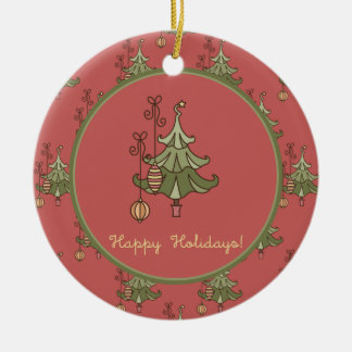 Doodle Christmas Tree Pattern Ornament