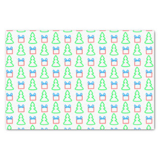 "Doodle Christmas Trees and Gifts Pattern 10"" X 15"" Tissue Paper"