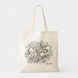 Doodle Cloud Tote (Black & White) Budget Tote Bag