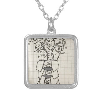 Doodle collections silver plated necklace