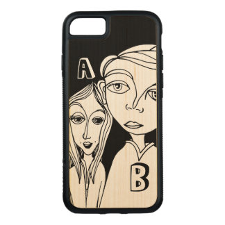 Doodle Couple & Two Personalized Letters Carved iPhone 8/7 Case